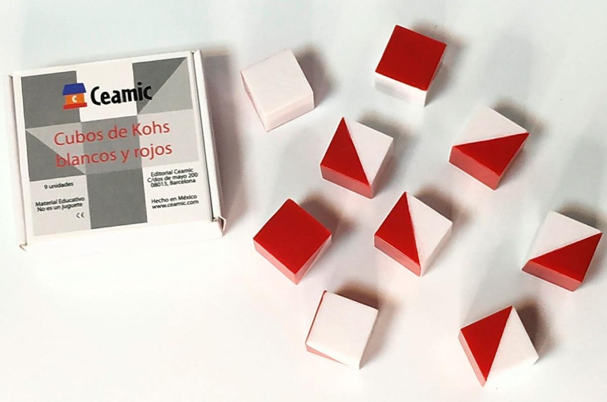 Cubos De Kohs 9 Cubos De Plástico Blancos Y Rojos Aa Vv